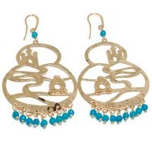 Drop Earrings Silver 925, Carriage, Castle, le Favole, Agate Blue image 2