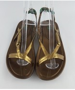 Cole Haan Sandals 9.5 G Series Air Gold Strappy Flat Z - $28.05