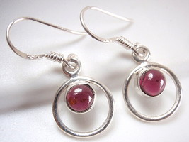 Small Red Garnet Earrings 925 Sterling Silver Dangle Corona Sun Jewelry - $17.81