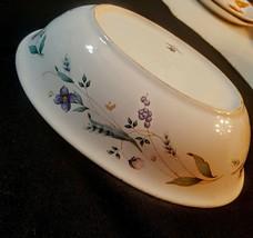 "Pfaltzgraff APRIL Vegetable Serving Bowl 10"" Oval Purple Flower Berries Stonewar - $19.79"