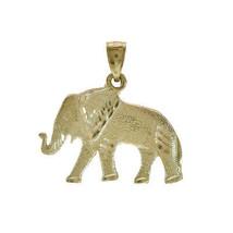 Diamond Cut Elephant Pendant 14K Yellow Gold - $167.31