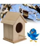 Wooden Bird House Feeder Wild Birds Nest Home Garden Nesting With Wood S... - $26.31