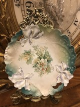 Stunning Irises and Floral Hand Painted Bowl With Gold Accents  Unmarked... - $44.55