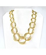 NAPIER Large Chain Necklace, Pat. 4 774 743, Heavy Links, Textured Gold ... - $32.00