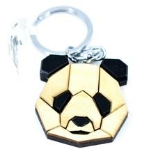 "Northwoods Wood Marquetry Panda Bear Head Bust 1.5"" Keychain"