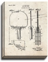 Ping Pong Racket Patent Print Old Look on Canvas - $39.95+