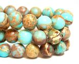 8mm Light Blue Impression Jasper Beads Round Sea Sediment Snake Skin - €17,51 EUR