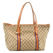 GUCCI Sherry Line GG Canvas Charm Tote Bag Purple Brown Auth 8828 - $220.00