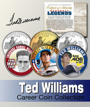 Baseball Legend TED WILLIAMS US State Quarter Colorized 3-Coin Set *Lice... - $9.85