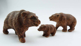 Miniature Sirocco Wood BEAR FAMILY Figurines 1930s Three Walking Brown B... - $31.99