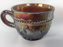 Dugan Beaded Stork And Rushes Root Beer Red Amethyst Punch Cup - $16.82