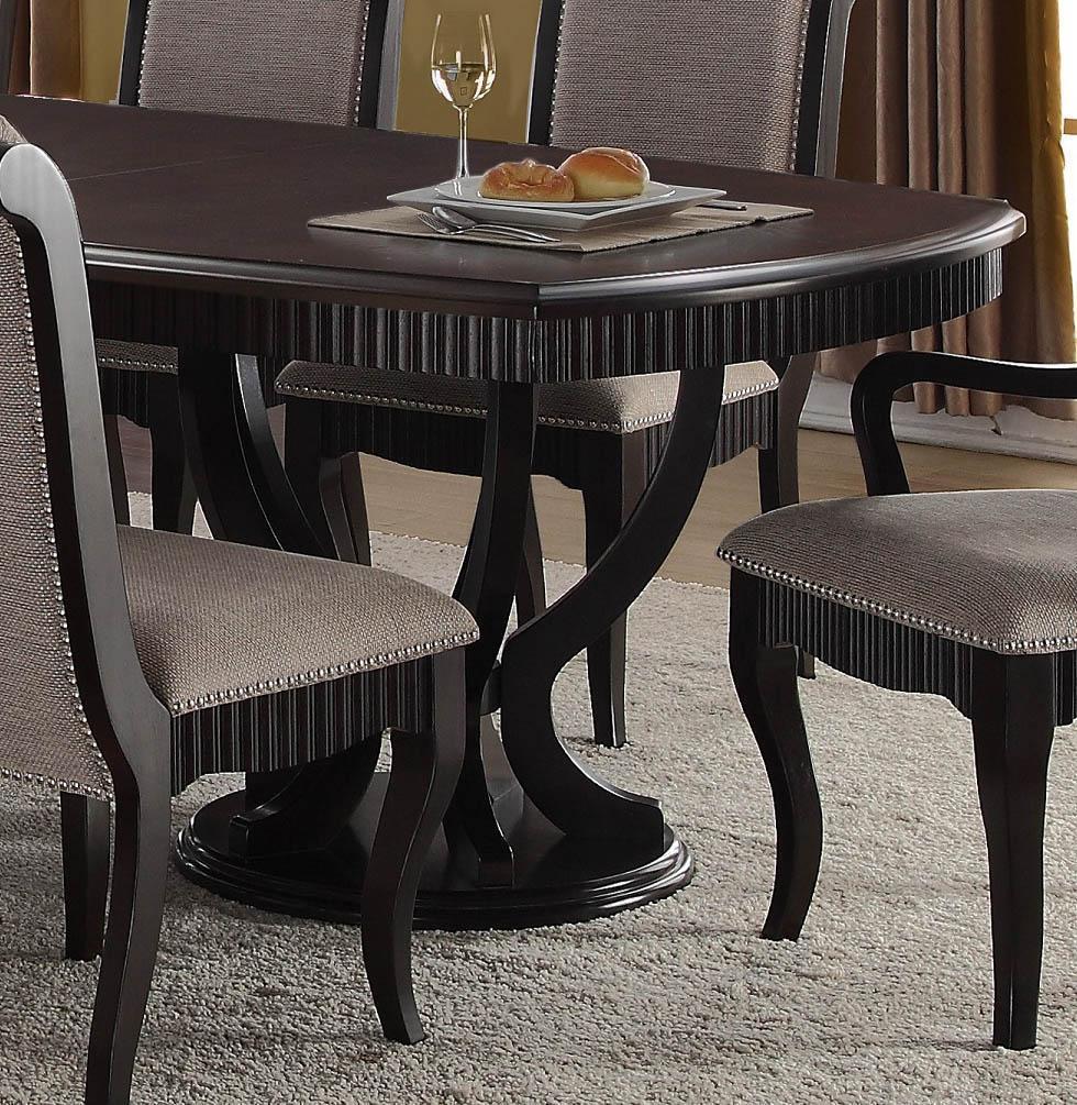 Formal Dining Table Set: Formal Black Finish Grey Fabric Dining Table Set 8Pcs