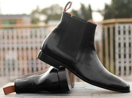 Handmade Men's Black Leather High Ankle Chelsea Boots image 1
