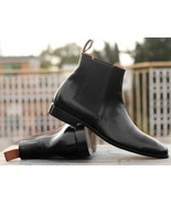Handmade Men's Black Leather High Ankle Chelsea Boots - $149.99