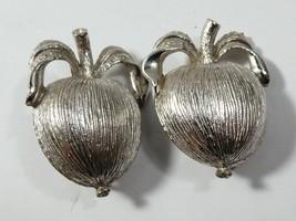 VTG Mid Century Sarah Coventry Silver tone Apple & leaves clip earrings - $20.79
