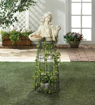 "Lady Bust Holding Bird Feeder w/ Iron Cage Plant Atrium Underneath 43.5""... - $103.90"