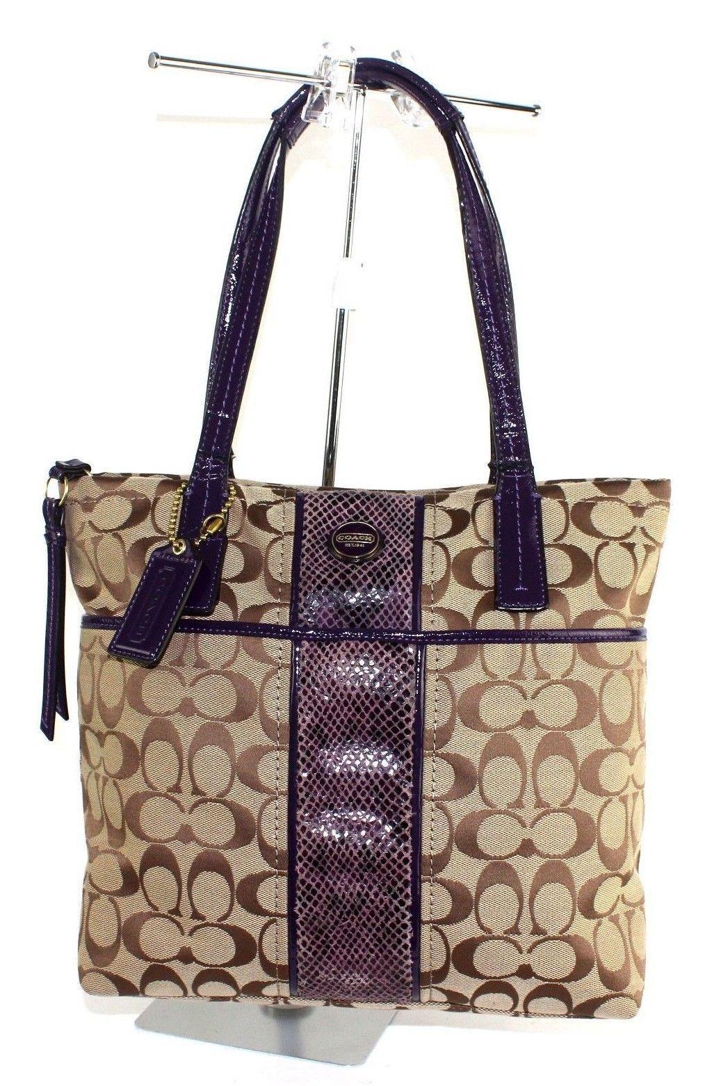Auth COACH signature Canvas Leather Shoulder Bag purse Beige Purple  F1361-F2570