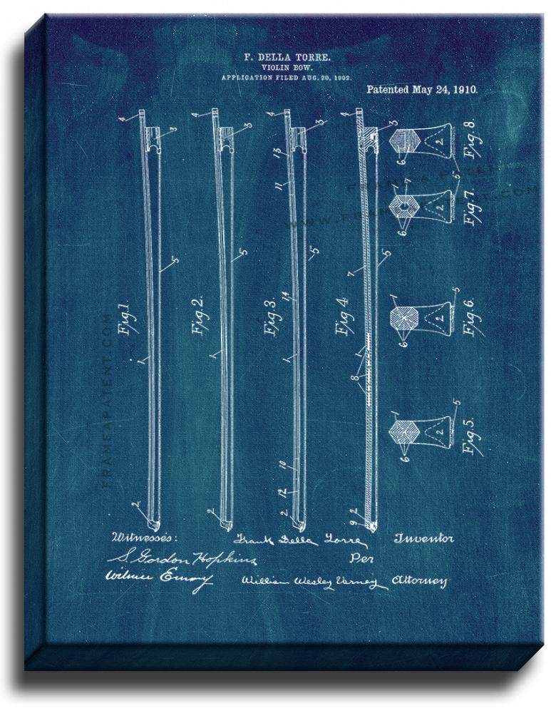 Primary image for Violin Bow Patent Print Midnight Blue on Canvas