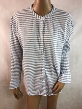 GRAND & GREENE Blue Top Blouse XL Striped Long Sleeve BOHO Summer Career A6 - $16.82