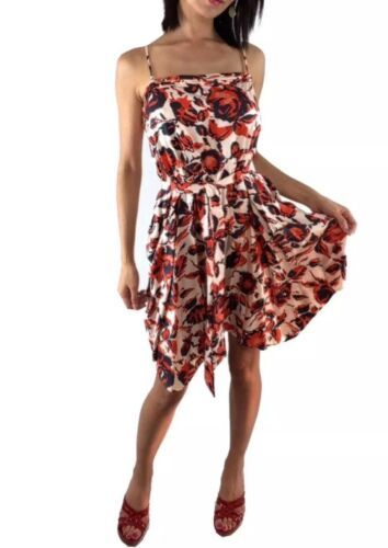 Joie Bergen Bellini Floral Print Silk Flare Asymmetrical Dress Size XS