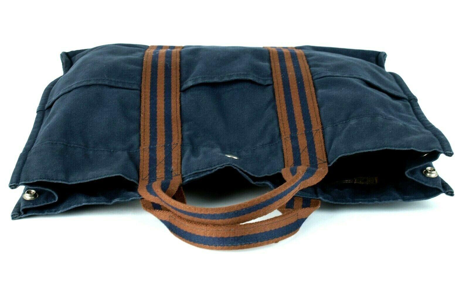 a0a200025 Authentic HERMES Paris Fourre Tout MM Navy 100% Cotton Canvas Tote Handbag  Purse