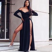 Tobinoone Solid Sexy Dress Women 2018 Off The Shoulder Summer Elegant Pa... - $47.01