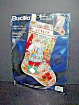 "Bucilla Counted Cross Stitch Gardening Santa 18"" Stocking 83686 New 1997 (r) - $59.39"