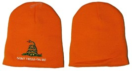 "8"" Gadsden Don't Tread On Me Orange Embroidered Beanie Skull Cap Hat WIN... - $15.99"
