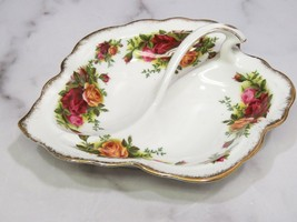 Royal Albert England Leaf Shape Handled 2 Well Serving Dish Old Country ... - $21.78
