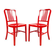 2x Aluminum 1940s 'Navy' Style Dining Chairs Anodized Finish In/Outdoor ... - $326.67