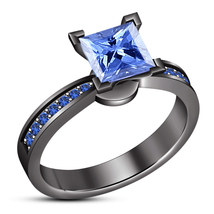 Solitaire W/ Accents Ring Princess Cut Blue Sapphire Black Gold Over 925... - ₨5,555.43 INR