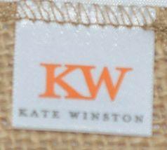 Kate Winston Brand Brown Burlap Monogram Black White W Garden Flag image 4