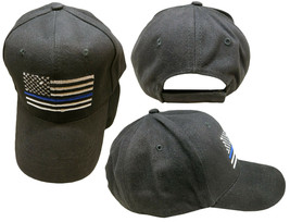 Lot of 6 Thin Blue Line USA Police Memorial American Black 100% Cotton Cap Hat - $57.77