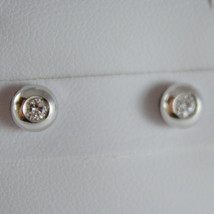 18K WHITE GOLD ROUND EARRINGS WITH DIAMOND DIAMONDS 0.13 CARATS, MADE IN ITALY image 1
