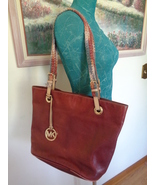 Michael Kors Leather Satchel Brown Red Ombre Shade with Crochet Shoulder Straps - $45.99