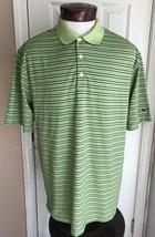 Nike Golf Dri Fit Green & Blue Striped Short Sleeve Polo Men's L - $14.80
