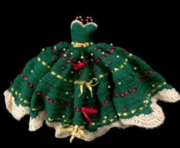 Vintage Hand Made Crocheted Doll Dress Beaded Bows Green Red Yellow Long  - $20.00