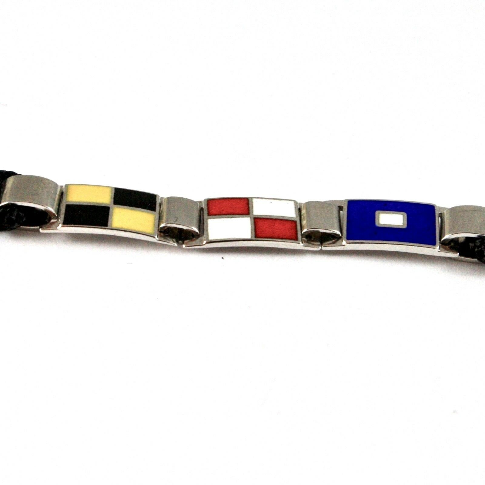 SILVER 925 BRACELET RHODIUM WITH FLAGS NAUTICAL GLAZED TILES AND ROPE 18 CM