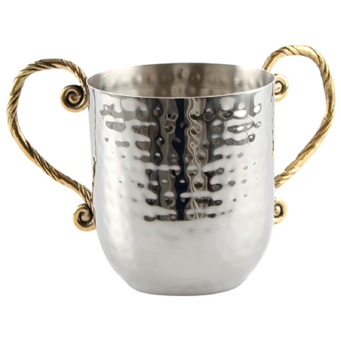 Judaica Hand Wash Cup Last Water Stainless Steel Silver Gold Handles Hammered