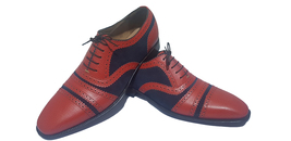 Handmade Men's Maroon Leather Blue Suede Heart Medallion Lace Up Oxford Shoes image 2