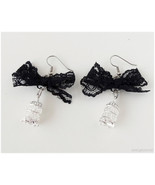 Birdcage Earrings, Black Lace Ribbon, Surgical Steel Hooks - Gothic Loli... - $16.00