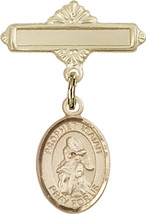 14K Gold Baby Badge with St. Isaiah Charm and Polished Badge Pin 1 X 5/8 inch - $416.46