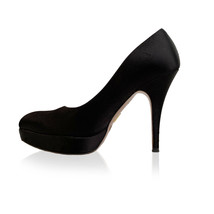 Authentic Prada Black Satin Pumps Shoes Heels with Platform Size 36 - $107.91