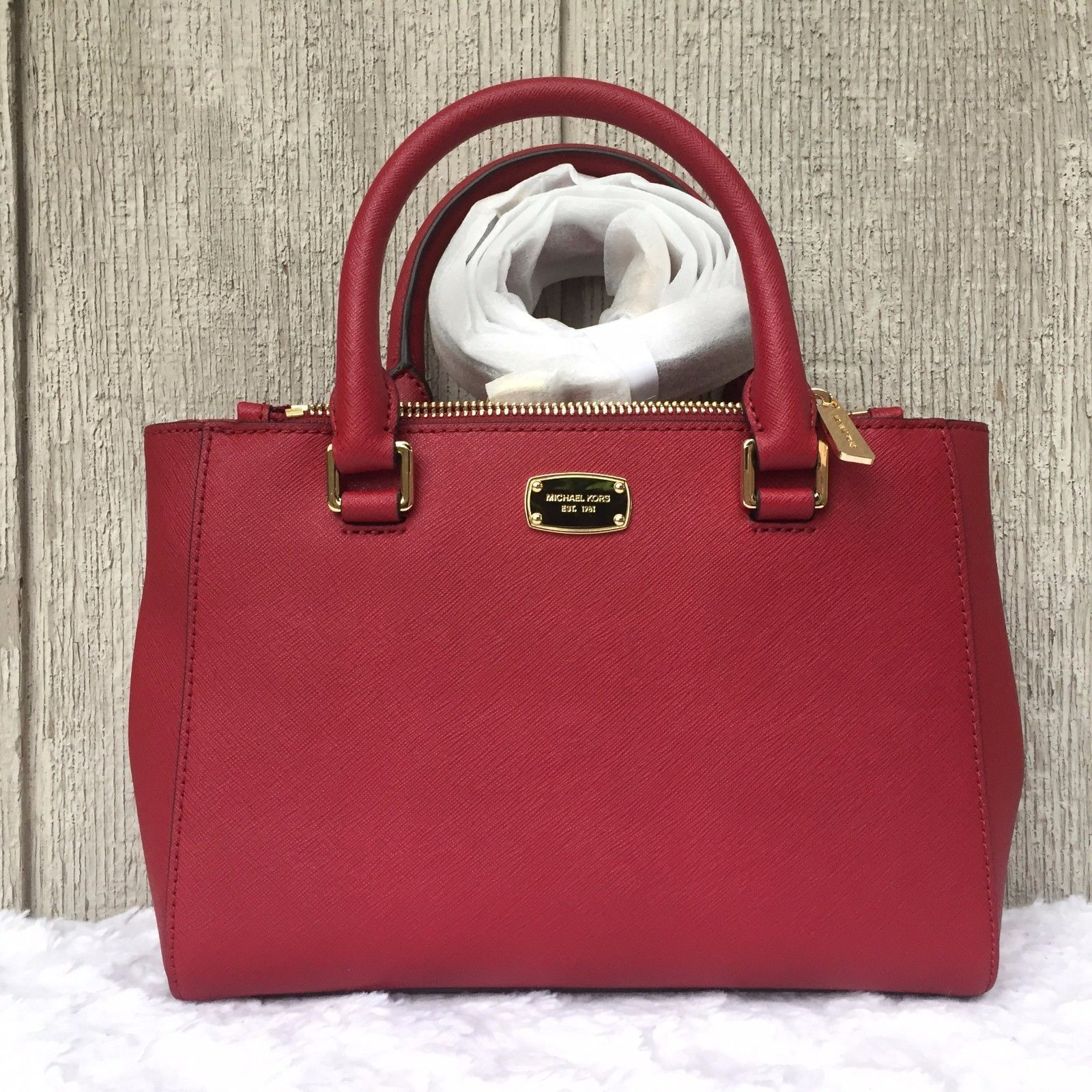 b53c412490dc 57. 57. NWT Michael Kors Kellen XSmall Crossbody Satchel Bag Leather Cherry  #35T7GSOS0L. NWT Michael Kors ...