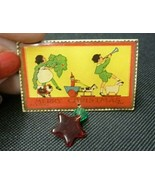MERRY CHRISTMAS Rectangular Pin Brooch Safety Catch Back C C A CO NJ Bea... - $9.67