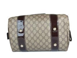 GUCCI GG Web PVC Canvas Patent Leather Browns Shoulder Bag GS2242 image 4