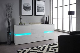 New Stunning High Gloss White LED Light Sideboard Drawers with Remote RR... - $195.00