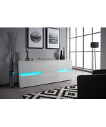 New Stunning High Gloss White LED Light Sideboard Drawers with Remote RR... - $185.25