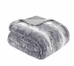 "Madison Park Zuri Faux Fur Oversized Bed Throw Grey Finish 96 x 80""  MP5... - $60.80"