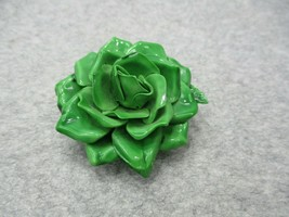 "Vintage Green Rose Brooch Pin Lucite 2 1/4"" Diameter x 1 1/4"" Deep - $11.99"